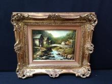 Signed Village Creek Scenic Oil Painting
