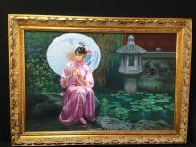 Oil On Canvas Girl With Parasol In Gilded Frame.