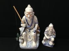 Large & Small White Porcelain Mudman Statue.