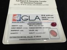 3.12 Carat Loose Oval Cut Ruby GLA Appraised.