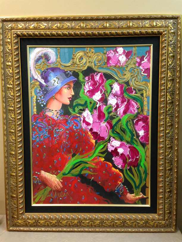 Lady In Red by Otto Aguiar-signed and Hand Embellished