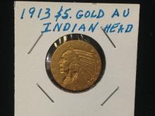 1913 $5 Indian Head Gold Coin AU