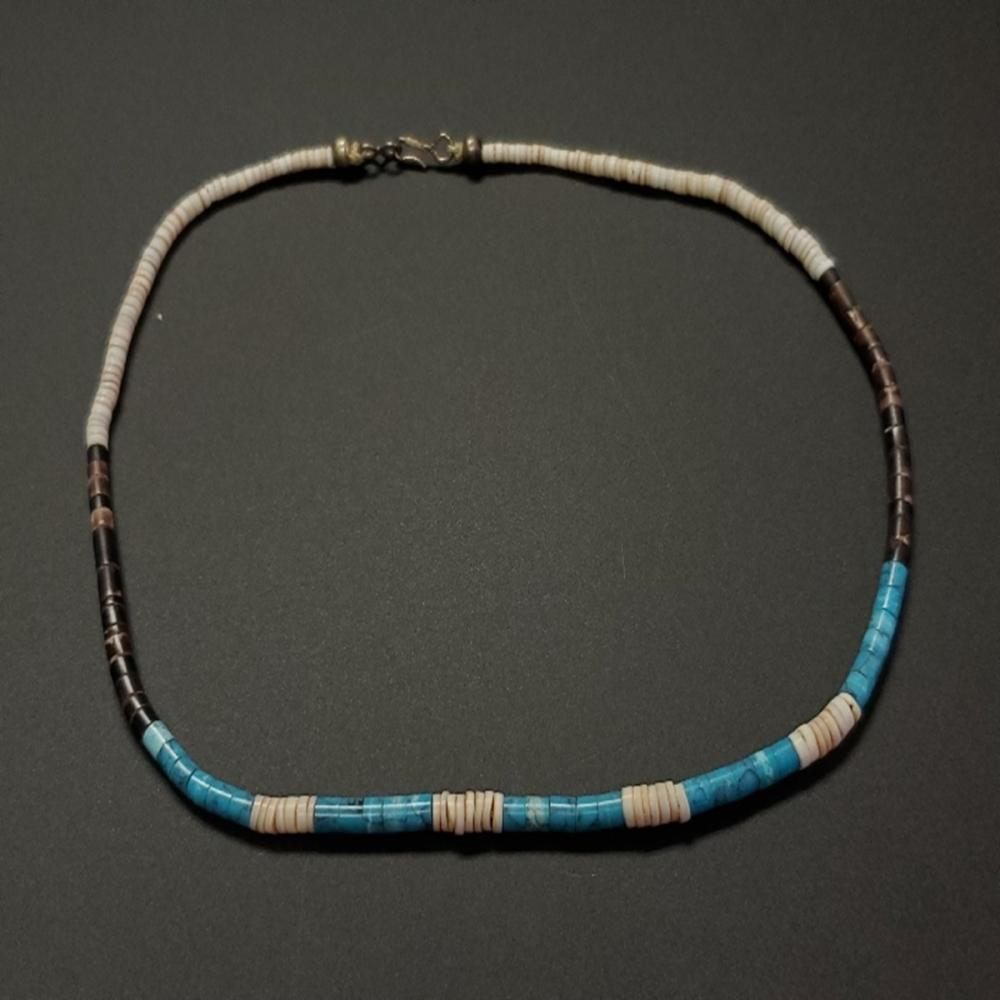 Vintage Turquoise, Puka, Onyx, and Lapis Necklace