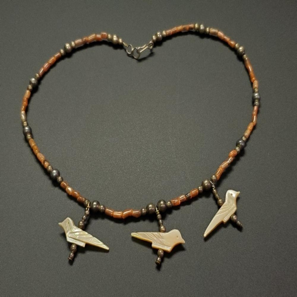 Brown Coral and Fetish Abalone Bird Necklace
