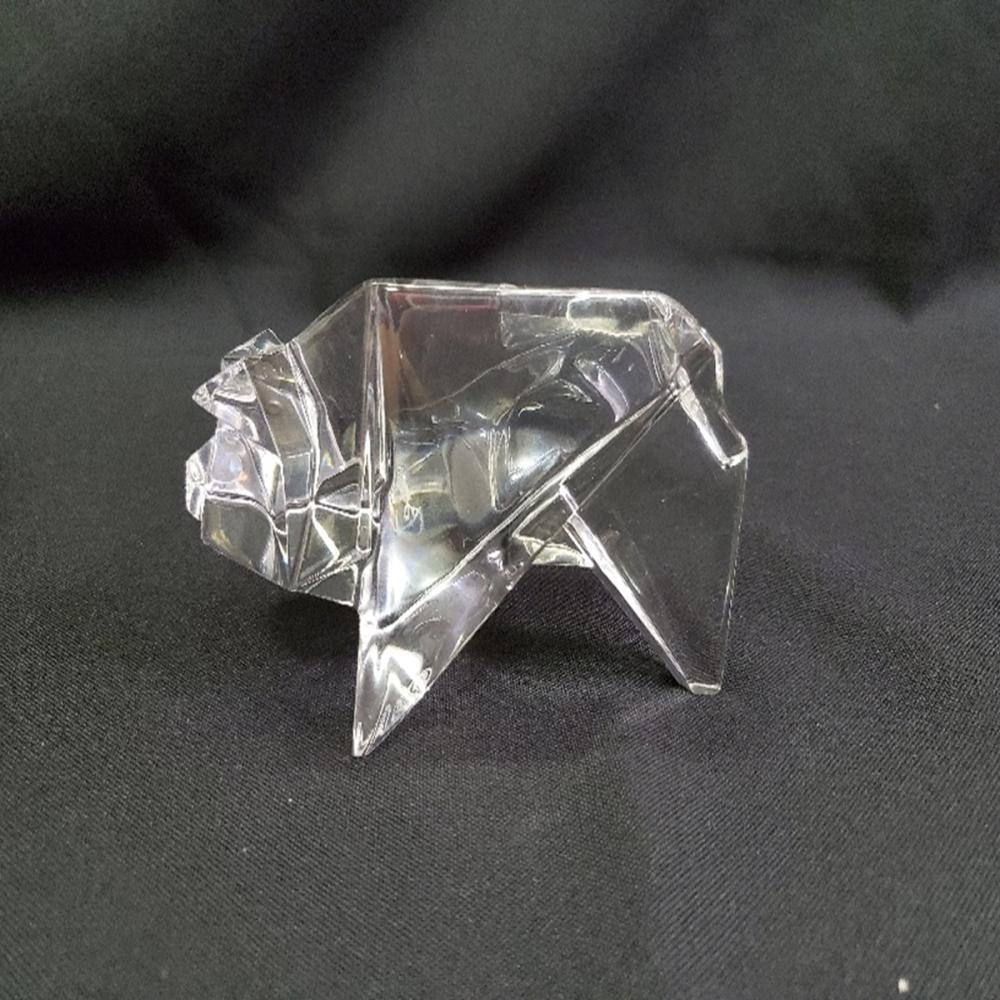 Baccarat France Signed Origami Crystal Pig