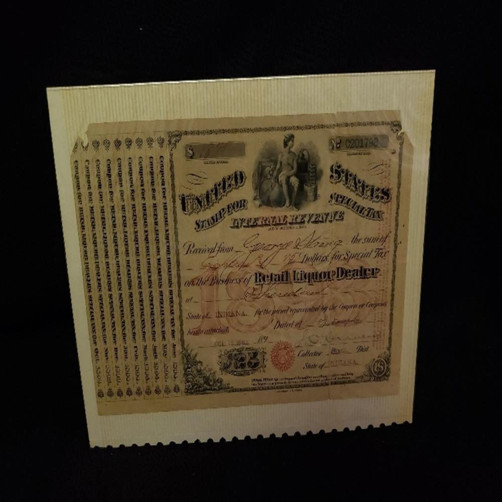1893-94 Special $25 Tax Stamp Retail Liquor Dealer