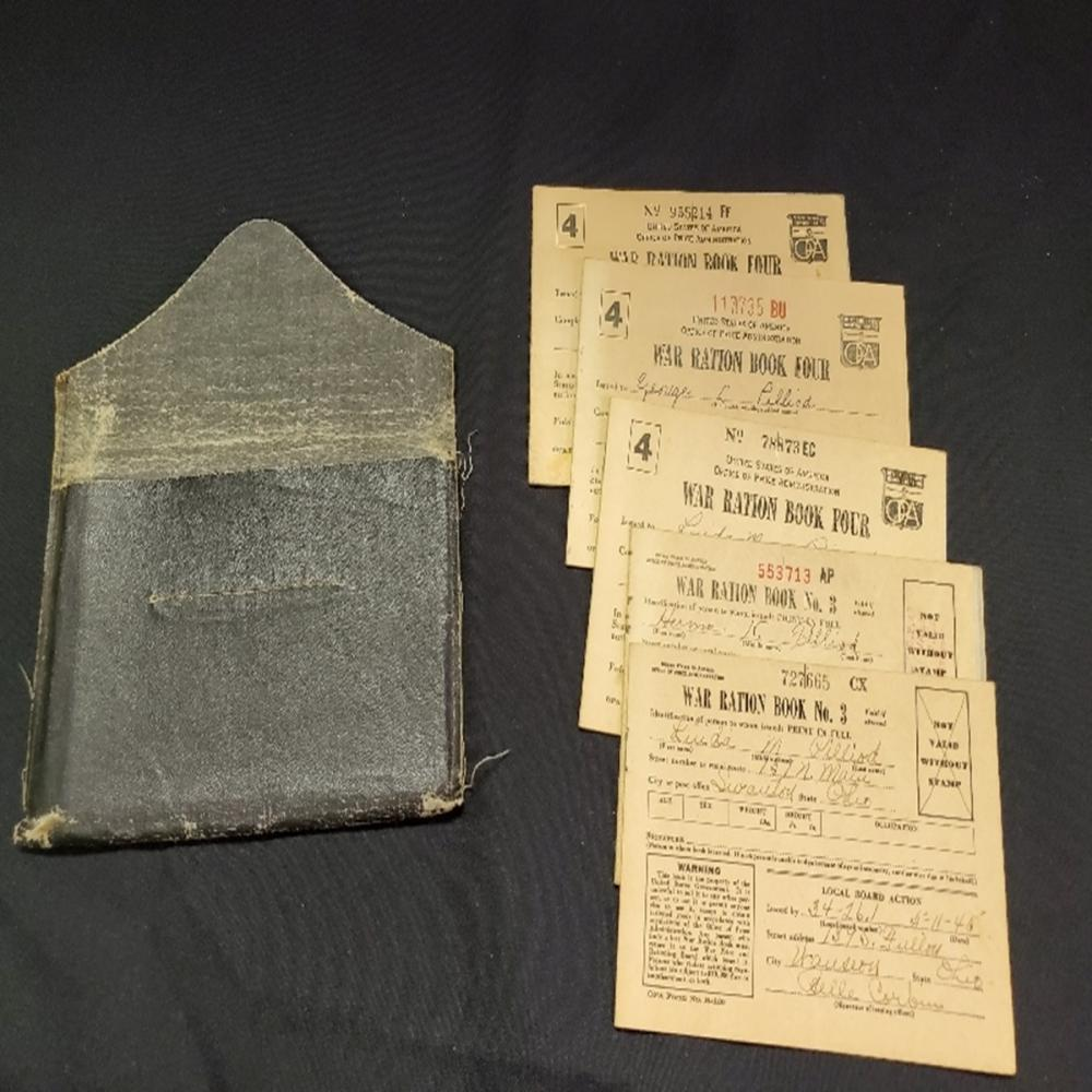 (5) WWII War Ration Books Number 3 and 4