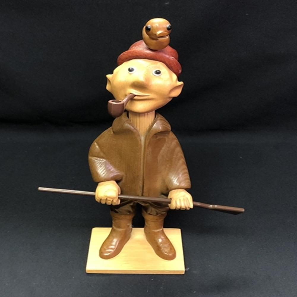 1950s Romer Carved Wood Duck Hunter Made in Italy