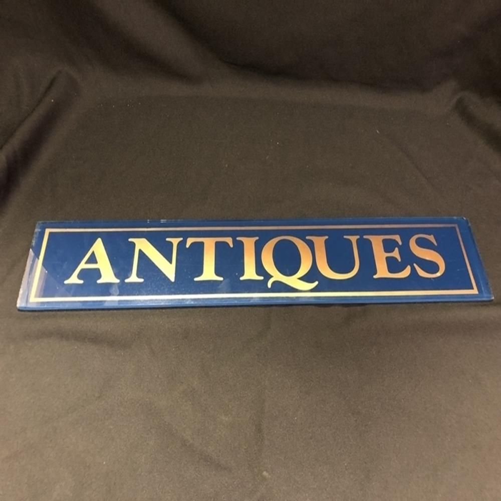 "Reverse Painted Glass ANTIQUES Sign 23.5"" x 4"""