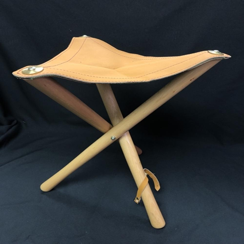 Three Legged Tripod Leather Top Folding Stool