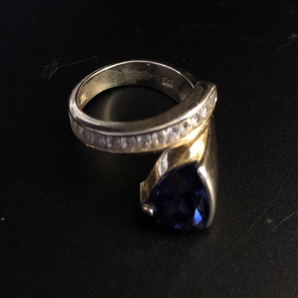 Sterling Silver Ring w/ Tanzanite & Tourmaline