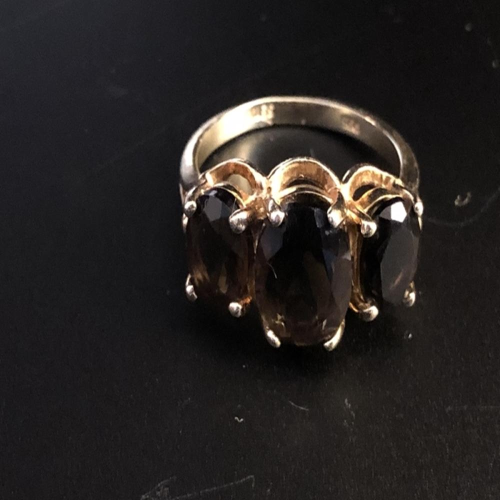 Brown Tourmaline and Sterling Ring