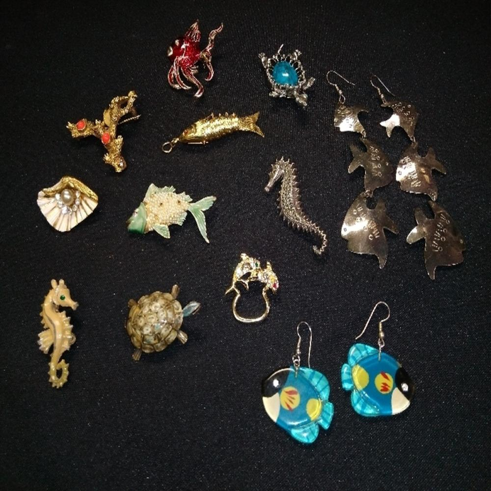 Fish and Turtle Brooch/Earring Lot