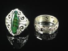 (2) Vintage Designer Sterling Silver Rings.