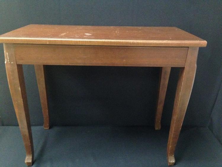 Vintage Wood Piano Bench W Storage
