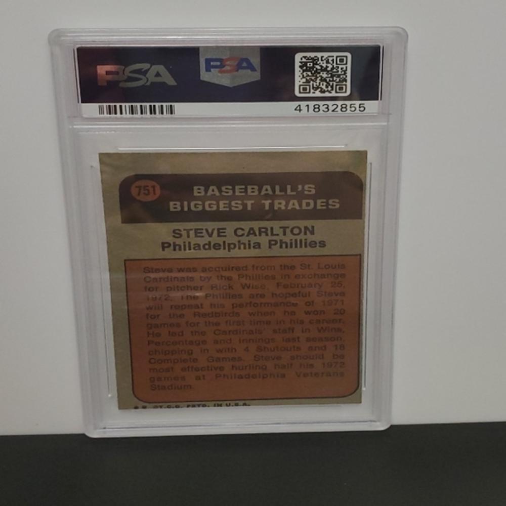 Lot 2: 1972 Topps #751 Steve Carlton EX-MT 6 Graded Card