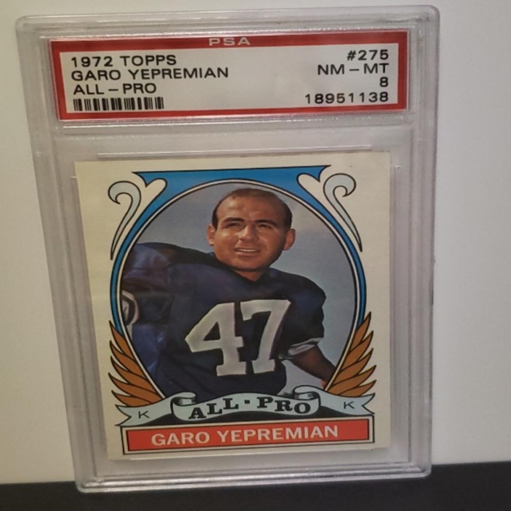 1972 Topps #275 Garo Yepremian NM-MT 8 Graded Card