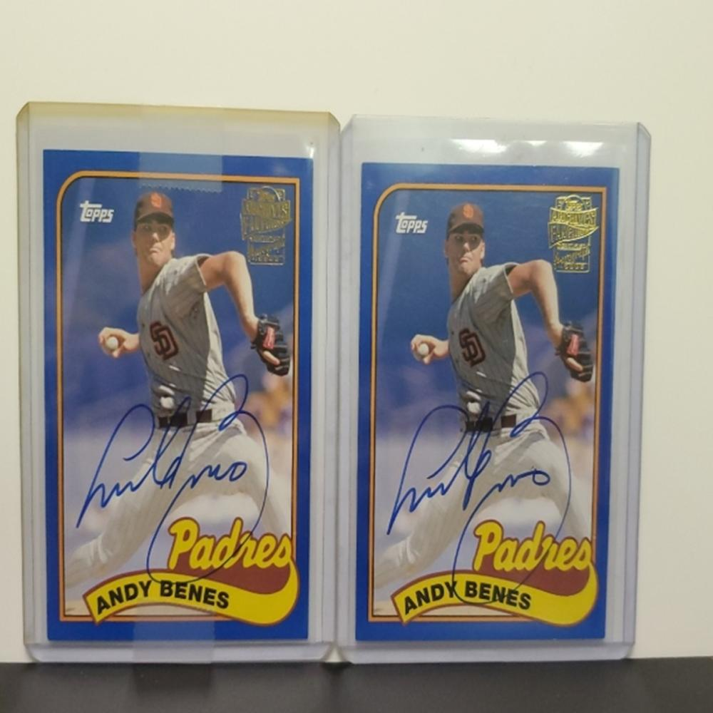 Lot 33: (2)2016 Topps Archives Fan Fav Andy Benes Auto