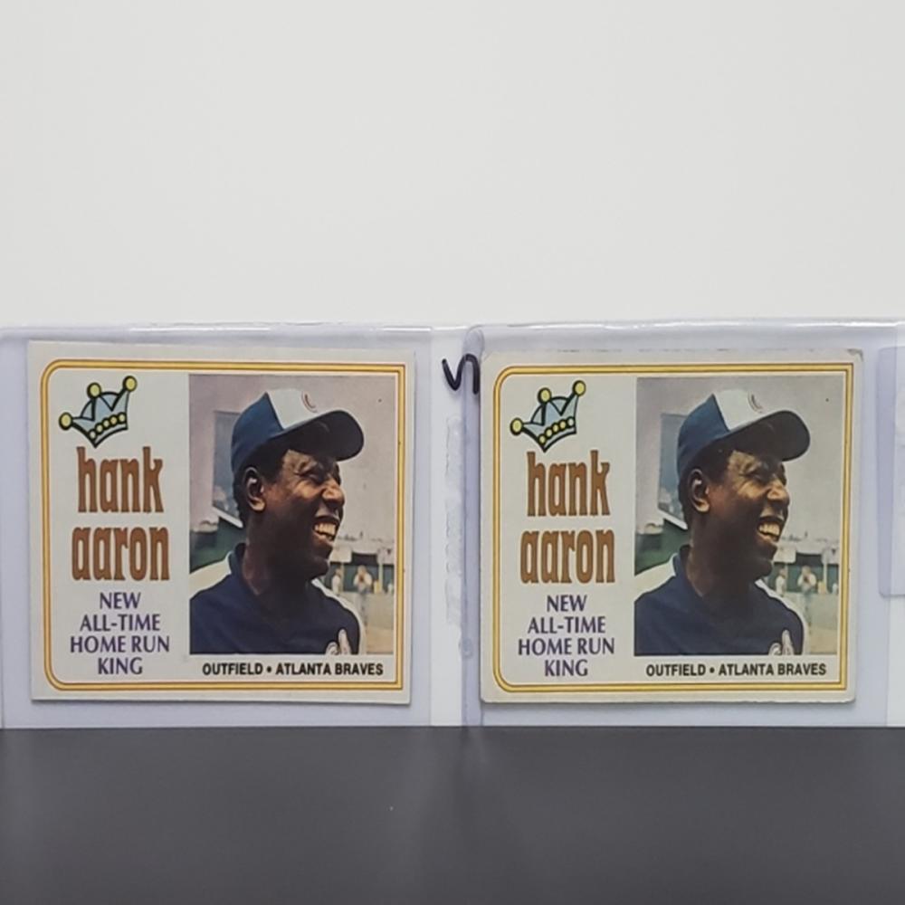 (2) 1974 Topps Hank Aaron #1 Cards