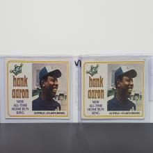 Lot 42: (2) 1974 Topps Hank Aaron #1 Cards