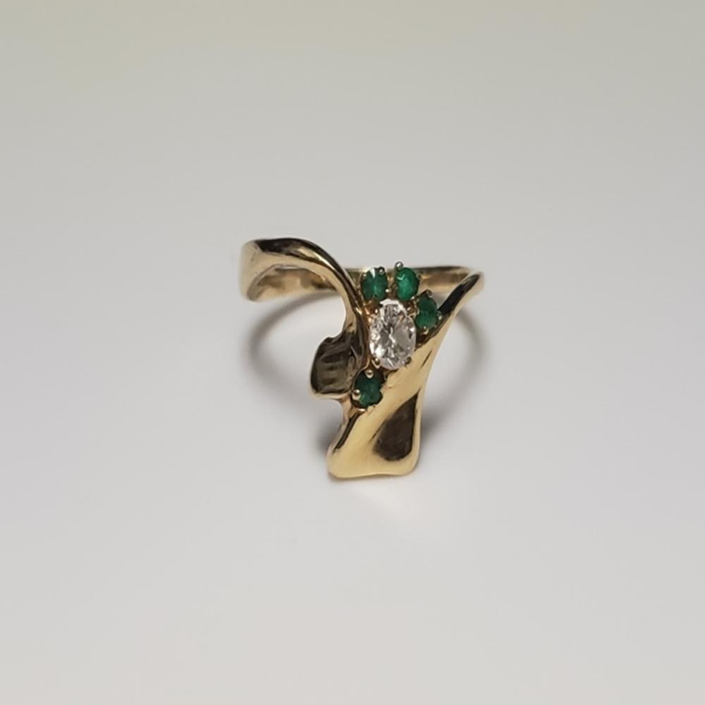 14 Karat Yellow Gold With Emerald and Diamond Ring
