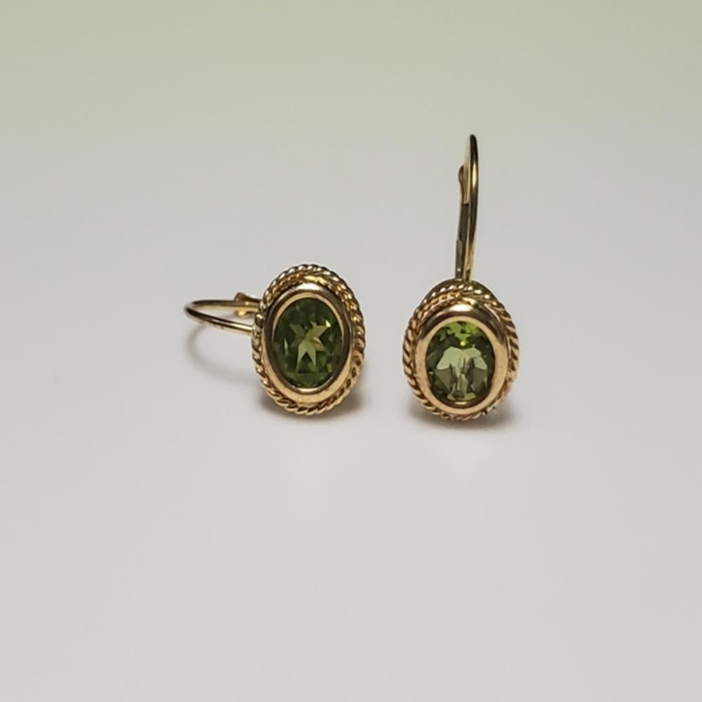 14 Karat Yellow Gold Green Peridot Drop Earrings