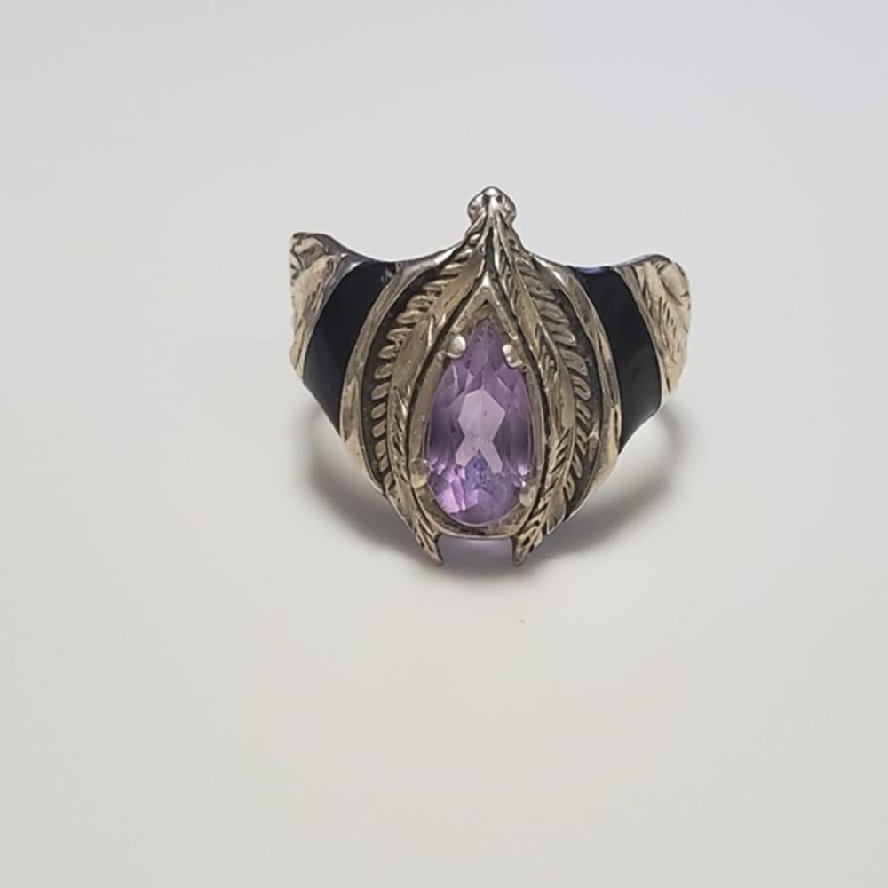 Lot 57: Sterling and Amethyst Ring with Onyx Accents