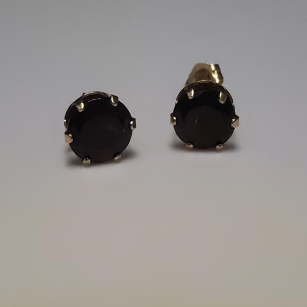 Lot 60: Garnet or Red Amethyst Earrings - 14 Karat Gold