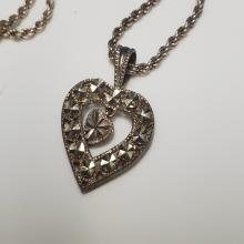 Lot 61: Sterling Heart Pendant Necklace