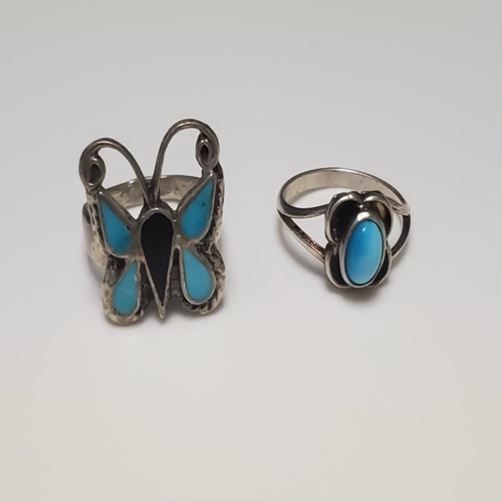 (2) Handmade Silver and Turquoise Rings