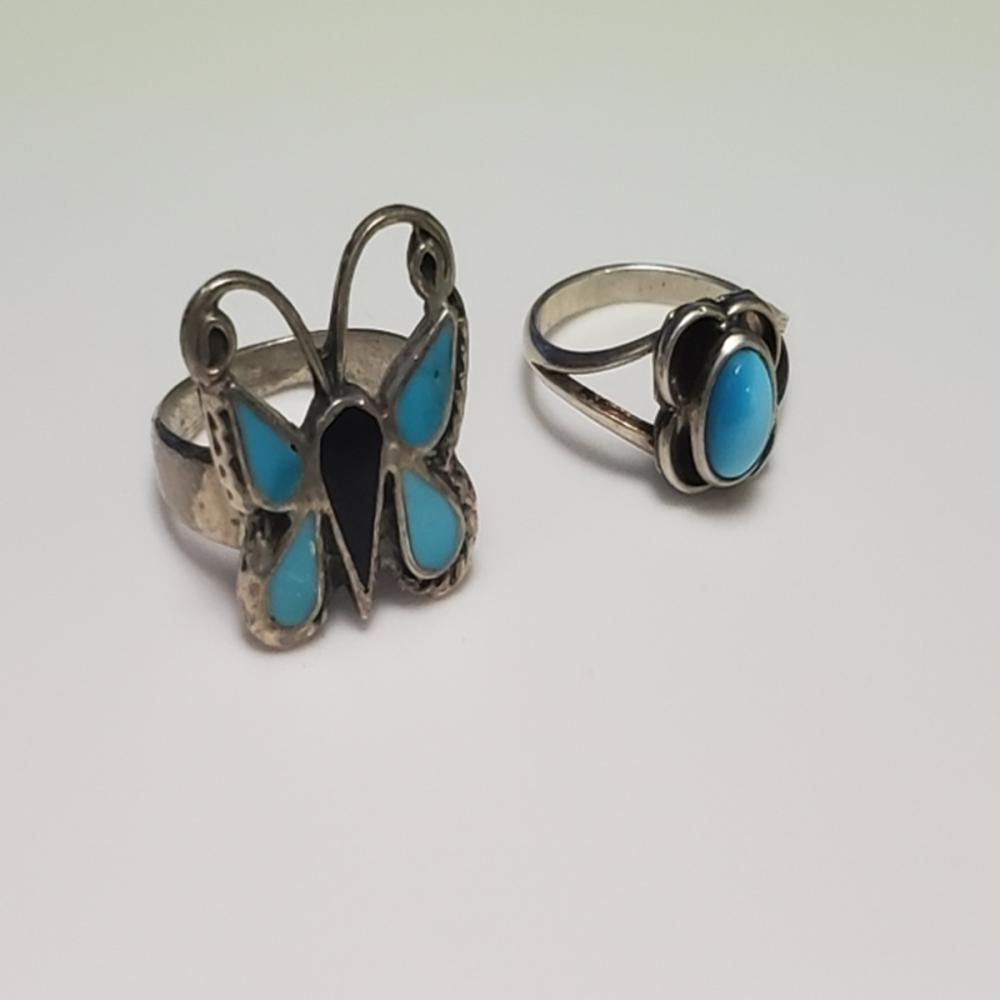 Lot 63: (2) Handmade Silver and Turquoise Rings