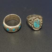 Lot 64: (2) Turquoise and Silver Hand Crafted Toe Rings