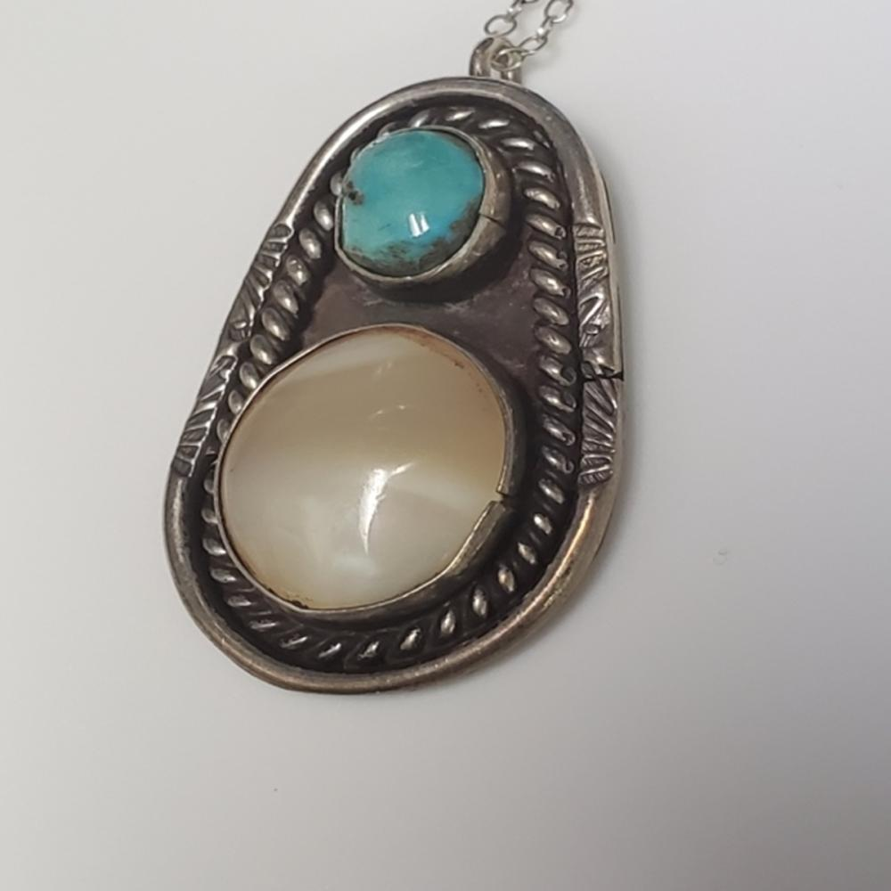 Lot 65: Native American Style Turquoise/Abalone Pendant