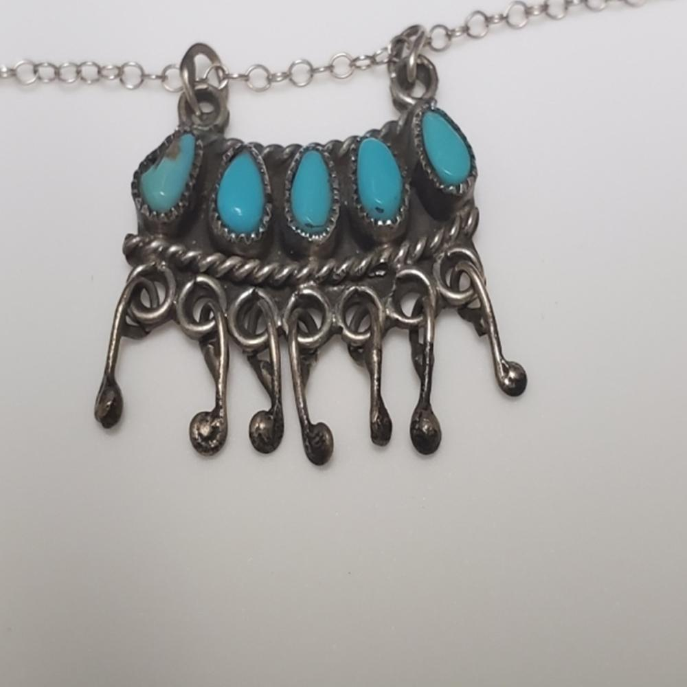 Lot 66: Handmade Sterling Silver Necklace w/Turquoise
