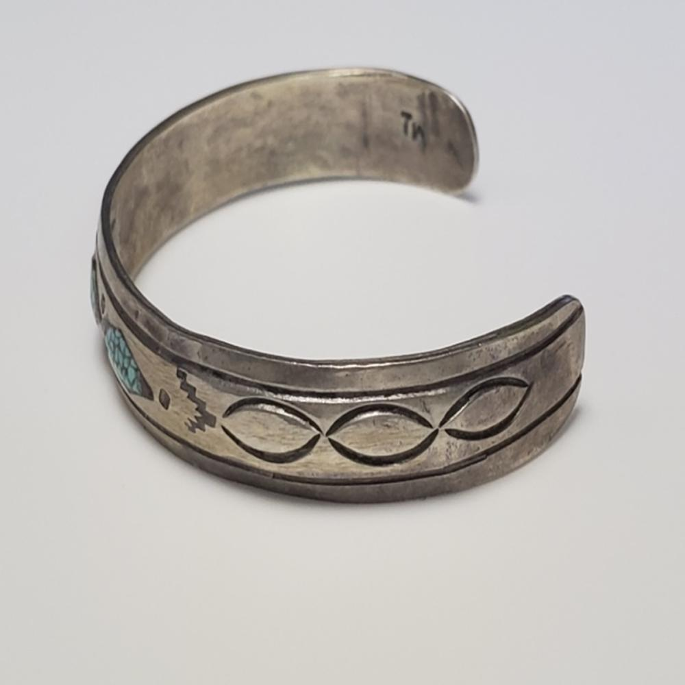Lot 67: Child's Silver and Turquoise Cuff Bracelet