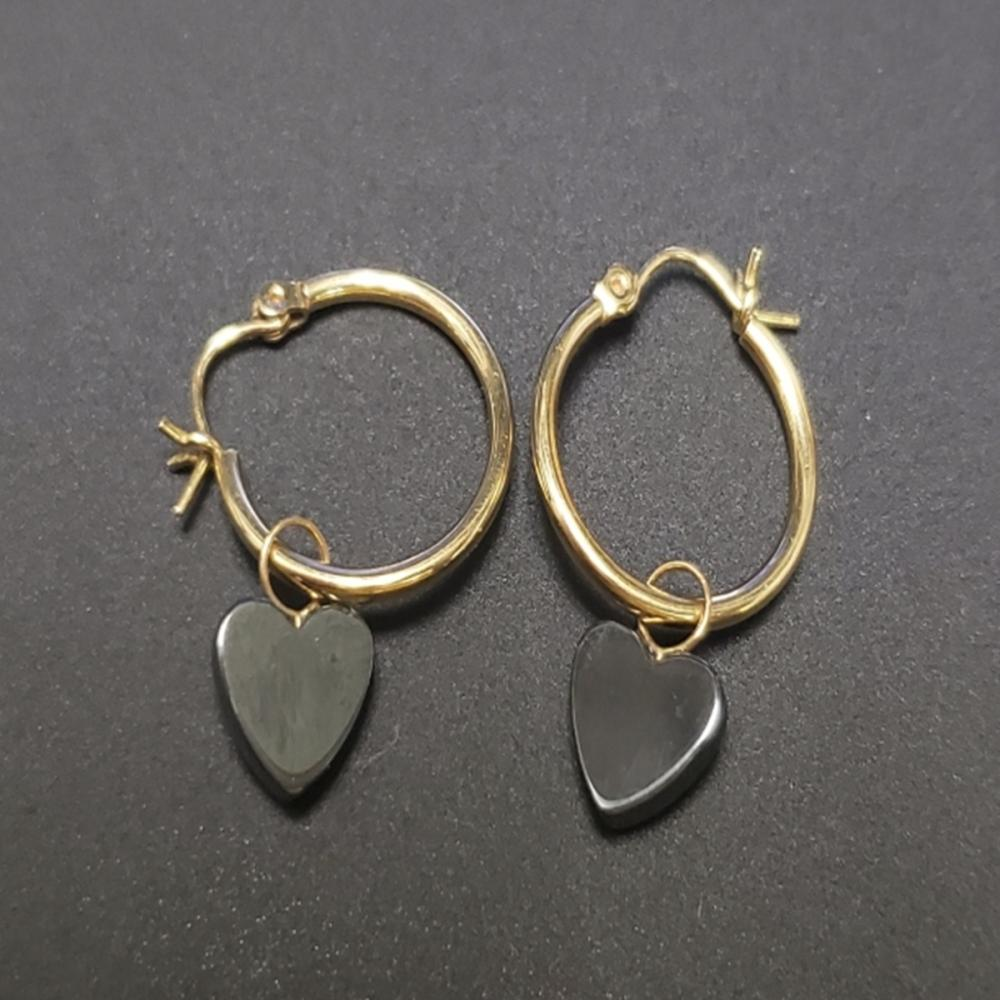 14 Karat Yellow Gold Hoops with Onyx/Spinel Charms