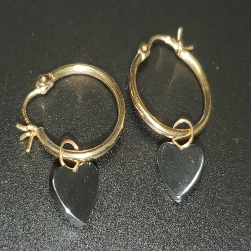Lot 74: 14 Karat Yellow Gold Hoops with Onyx/Spinel Charms