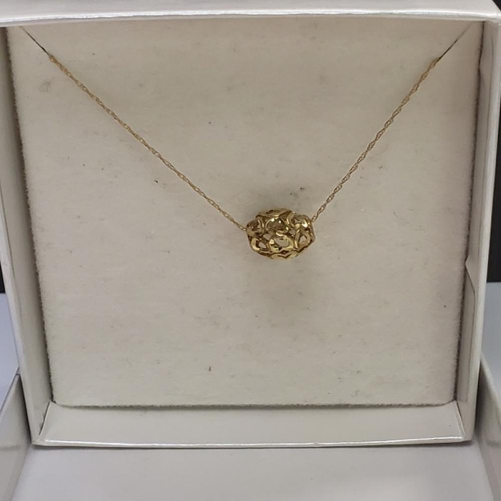 10 Karat Yellow Gold Necklace with Gold Bead