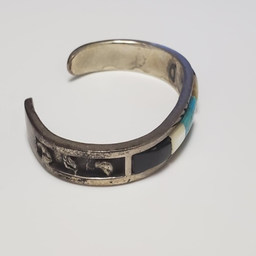 Lot 78: Silver Turquoise Abalone and Onyx Cuff Bracelet