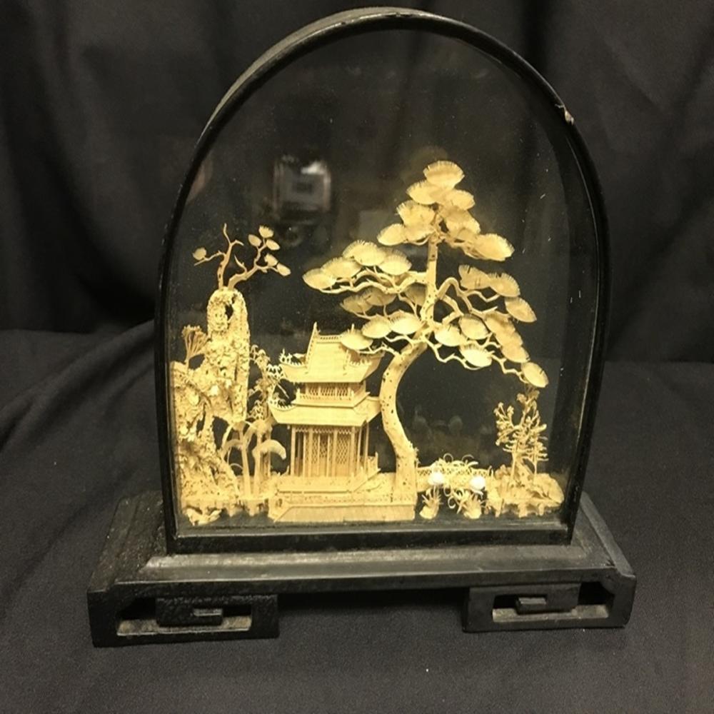 Oriental Hand Carved Cork Art Diorama w/ Wood Base