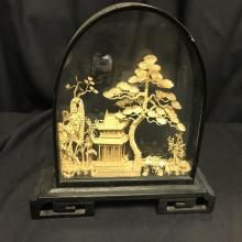 Lot 84: Oriental Hand Carved Cork Art Diorama w/ Wood Base