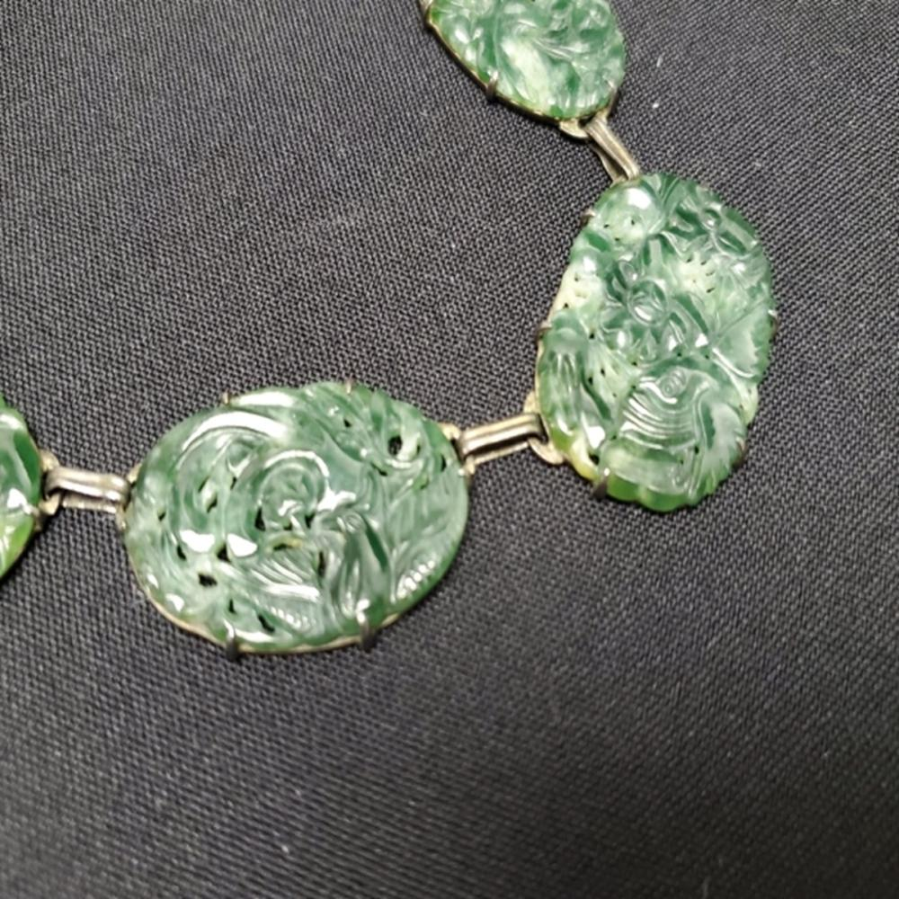 """Lot 87: 28"""" Carved Jade and Sterling Silver Necklace"""