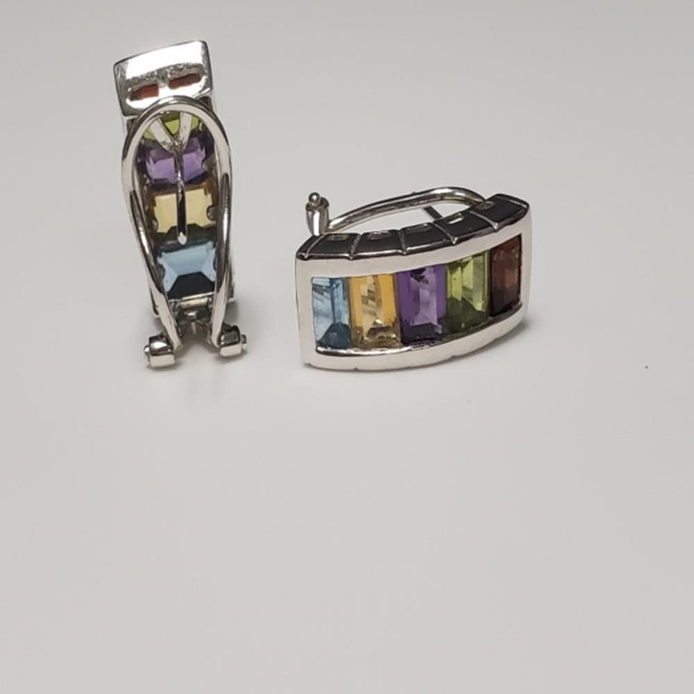 Lot 95: 14 Karat White Gold and Gemstone Earrings