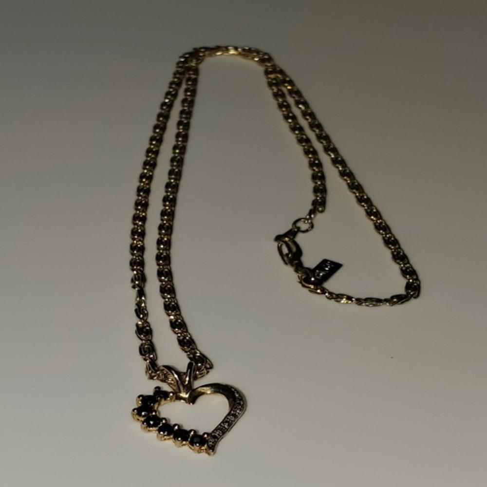 Black Topaz and Diamond Pendant Gold Over 925
