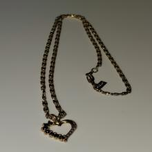 Lot 96: Black Topaz and Diamond Pendant Gold Over 925