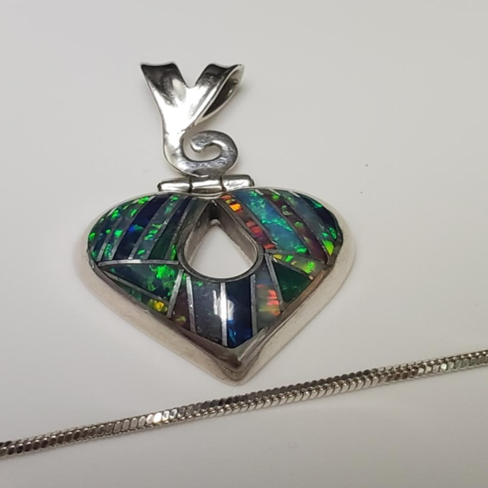 Lot 97: 950 Mexican Silver Pendant with Silver Tone Chains