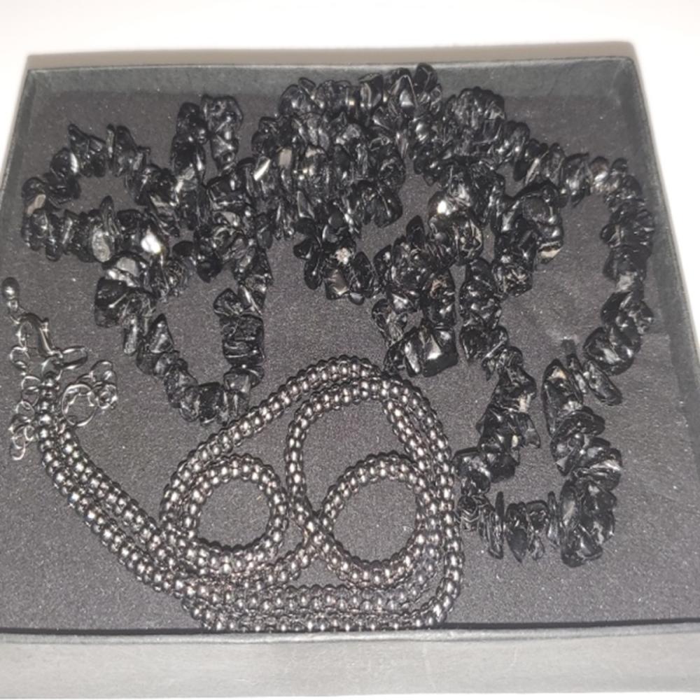 Lot 100: Black Iolite or Black Tourmaline Stone Necklace
