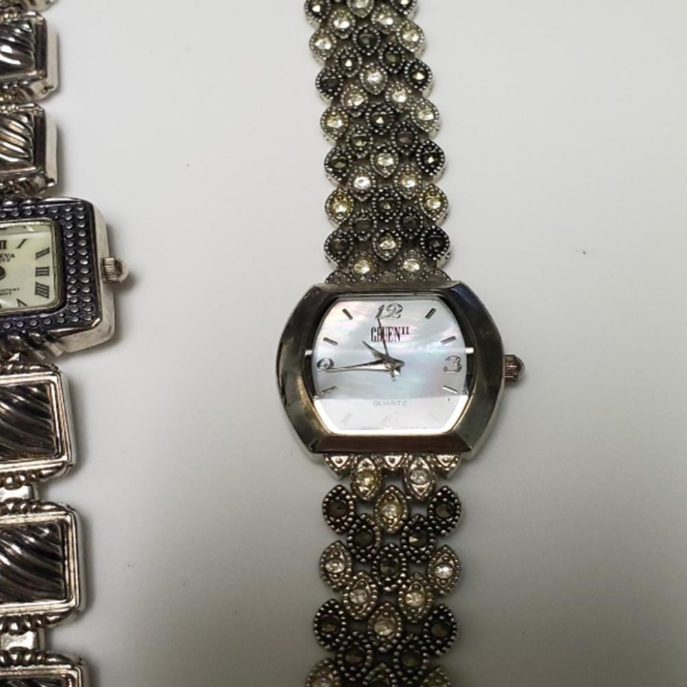 Lot 116: Silver Tone Jeweled Watches and Ring Lot