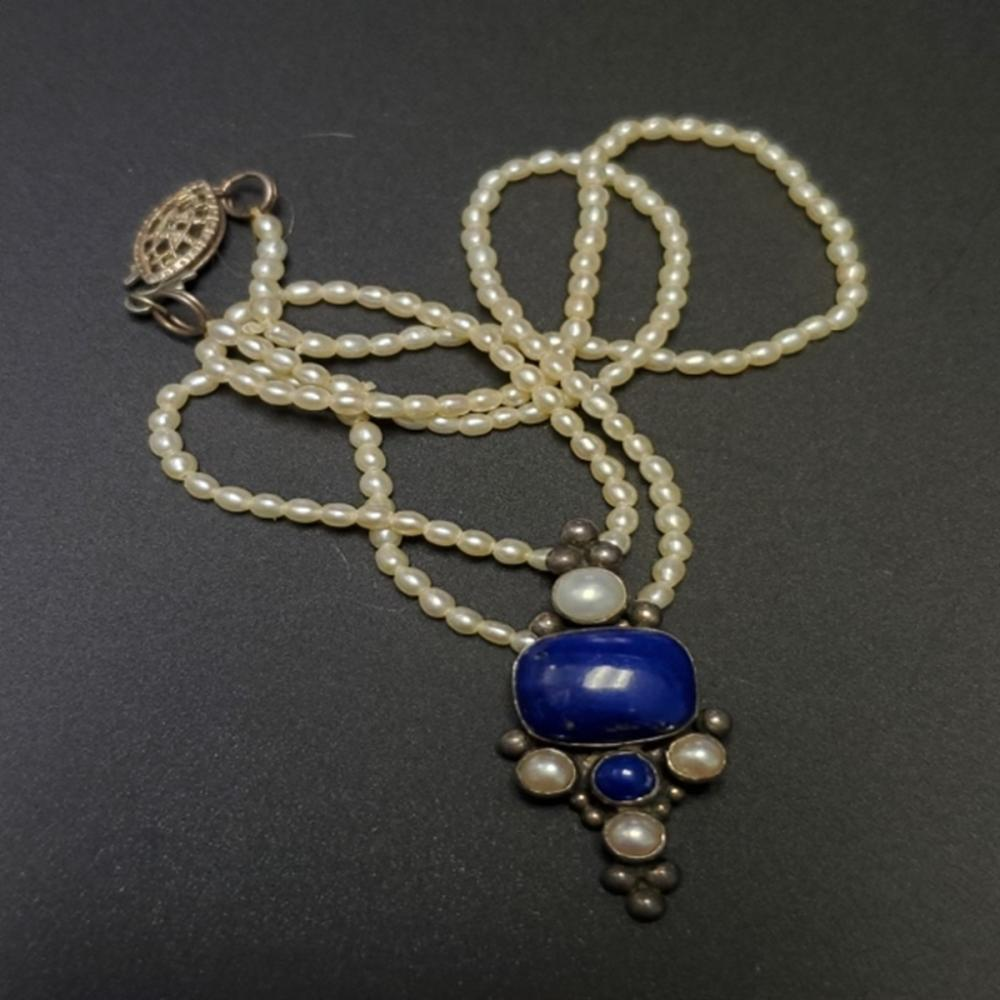 Lot 120: Pearl/Lapis Pendant Necklace with Sterling