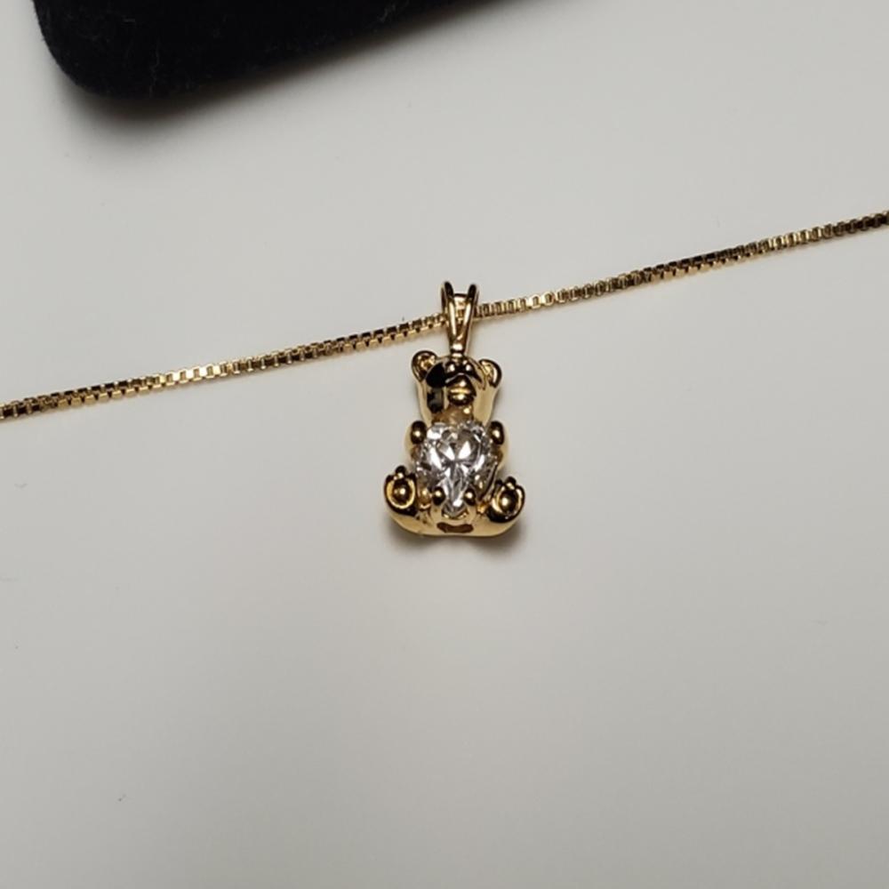 Lot 123: Gold Over Sterling Bear Pendant Necklace/Earrings